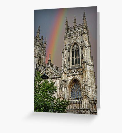Rainbow over York Minster. Greeting Card