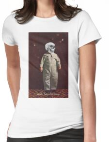 Who Says I'm Scart? (Vintage Halloween Card) Womens Fitted T-Shirt