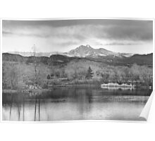 Longs Peak and Mt Meeker Sunrise at Golden Ponds BW  Poster