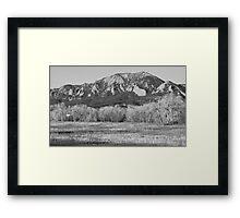 Flatirons Jay Rd View Boulder CO BW Framed Print
