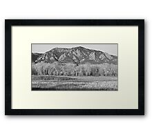 NCAR and Flatiron View Boulder CO BW Framed Print