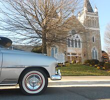 Old Fashion Car in Front of Church by Grace314