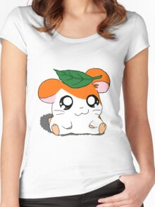 Hamtaro with Leaf Women's Fitted Scoop T-Shirt