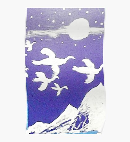 Moonlight flight, watercolor Poster