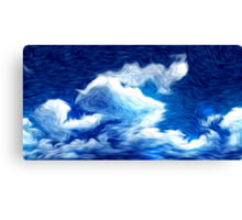 Blue Sky Clouds Oil Painting Canvas Print