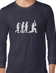 evolution of cricket white silhouette Long Sleeve T-Shirt