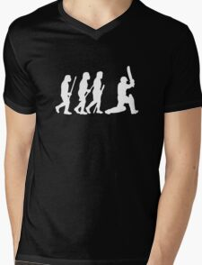 evolution of cricket white silhouette Mens V-Neck T-Shirt