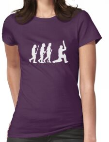 evolution of cricket white silhouette Womens Fitted T-Shirt