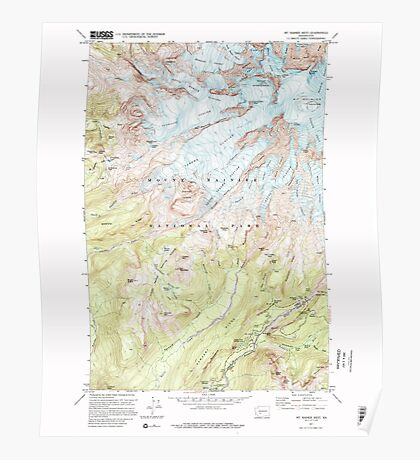 USGS Topo Map Washington State WA Mt Rainier West 242657 1971 24000 Poster
