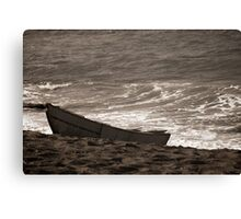 A Black Sand Boat Canvas Print