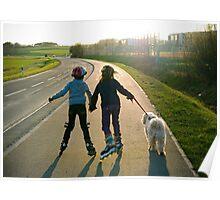 Kids on roller blades. Poster