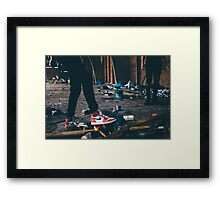 Jordan Sneakers On Fire Framed Print
