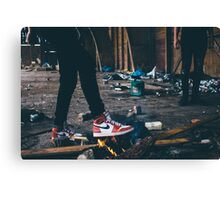 Jordan Sneakers On Fire Canvas Print