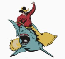 Cowboy Riding a Shark by Vojin Stanic