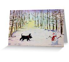 Scottie Dog & Snowman Greeting Card