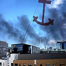 Boat fire smoke over the city by Robyn Lakeman