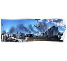Boat fire smoke over the city Poster