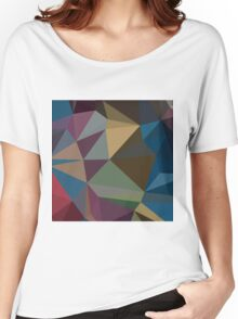 Blue Sapphire Abstract Low Polygon Background Women's Relaxed Fit T-Shirt