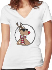 Christmas deer with shades Women's Fitted V-Neck T-Shirt