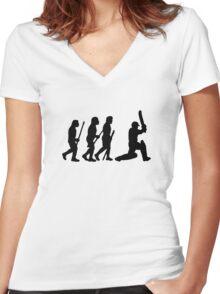 evolution of cricket Women's Fitted V-Neck T-Shirt