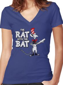 The Rat With The Bat Women's Fitted V-Neck T-Shirt
