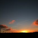 Sunset on Argyll Windfarm in Scotland by GuyHinksPhoto