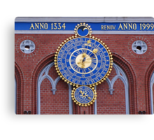 Astronomical clock on the House of Blackheads in Riga Canvas Print