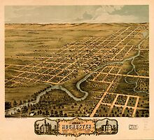 Panoramic Maps Bird's eye view of the city of Rochester Olmsted County Minnesota 1869 by wetdryvac