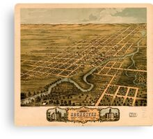Panoramic Maps Bird's eye view of the city of Rochester Olmsted County Minnesota 1869 Canvas Print