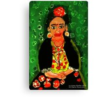 Mexican  Frida Folk Art Portrait Canvas Print