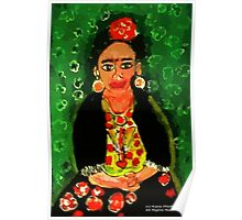 Mexican  Frida Folk Art Portrait Poster