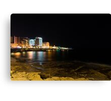 Black Night, Bright Lights - Sliema's Famous Waterfront Canvas Print
