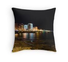 Black Night, Bright Lights - Sliema's Famous Waterfront Throw Pillow