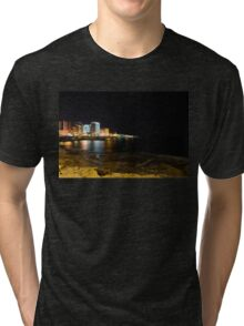Black Night, Bright Lights - Sliema's Famous Waterfront Tri-blend T-Shirt