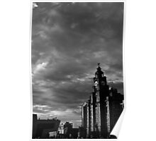 The Liver Building on a Breezy Day in Liverpool Poster
