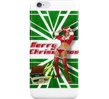 Dancin' Sexy Santa Girl (Green Background) iPhone Case/Skin