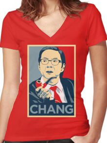 Chang We Can Believe In (Community) Women's Fitted V-Neck T-Shirt