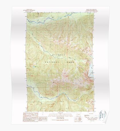 USGS Topo Map Washington State WA Mount Tom 242576 1990 24000 Poster