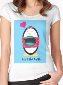 Waddles the Penguin Loves the Earth Women's Fitted Scoop T-Shirt
