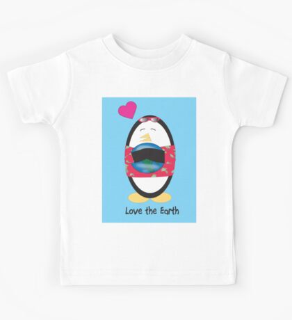 Waddles the Penguin Loves the Earth Kids Tee