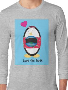 Waddles the Penguin Loves the Earth Long Sleeve T-Shirt