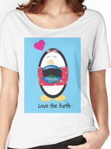 Waddles the Penguin Loves the Earth Women's Relaxed Fit T-Shirt