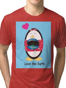 Waddles the Penguin Loves the Earth Tri-blend T-Shirt