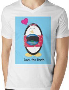 Waddles the Penguin Loves the Earth Mens V-Neck T-Shirt