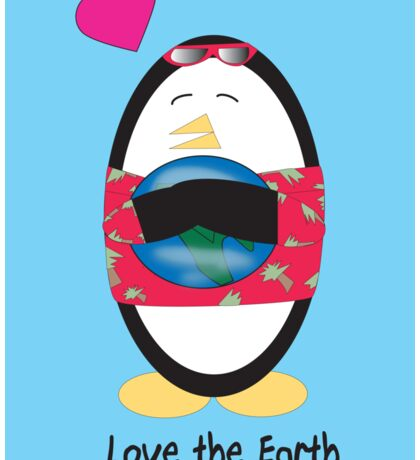 Waddles the Penguin Loves the Earth Sticker