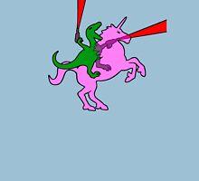 Dinosaur riding Invisible Pink Unicorn Unisex T-Shirt