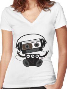 Cassette Robot Women's Fitted V-Neck T-Shirt