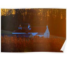 Cottage across the River Tees, in the gold of sunset. Poster