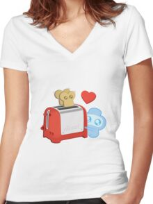 Bravest Warriors - Jelly Kid Love Toast Women's Fitted V-Neck T-Shirt