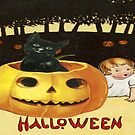 Shocking The Baby (Vintage Halloween Card) by Joseph Welte